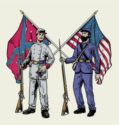 hand drawing vintage style american civil war vector image