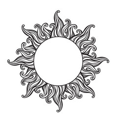Hand drawn etching style frame in a shape of sun vector