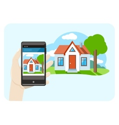 Hand holding mobile phone smartphone with house vector