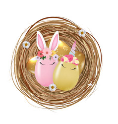 happy easter cute egg rabbit ears and unicorn in vector image