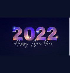 Happy new 2022 year elegant text with light vector