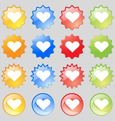 Heart Love icon sign Big set of 16 colorful modern vector