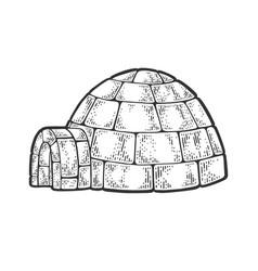 Igloo snow hut sketch vector