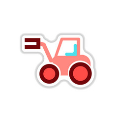 In paper sticker style tractor vector