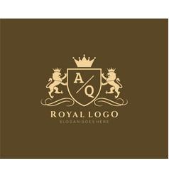 Initial aq letter lion royal luxury heraldiccrest vector