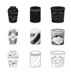 Isolated object of can and food logo collection vector