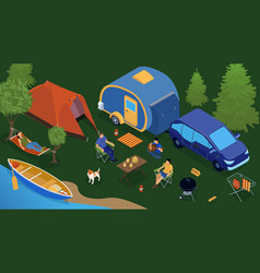isometric trailer park people composition vector image