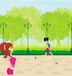 Jogging girls in summer vector image