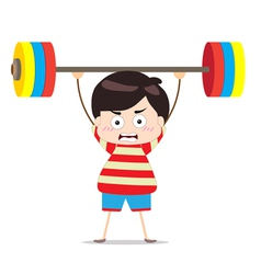 Kids weightlifting vector