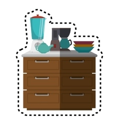 Kitchen chest of drawers with appliances vector