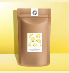 Kraft paper zipper pouch or sachet packagin vector