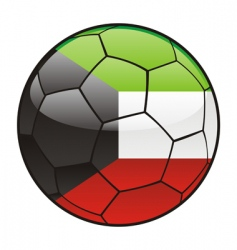Kuwait flag on soccer ball vector