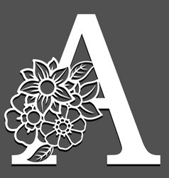 Letter silhouette with flowers letter a vector