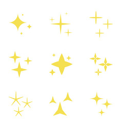 Lights stars set sparkles icons decoration vector