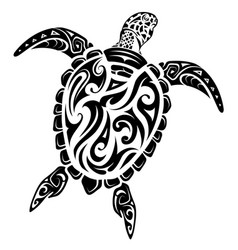 Maori style turtle tattoo vector