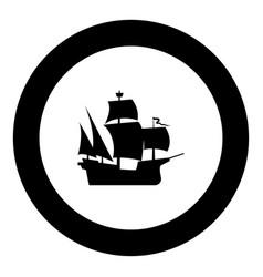 medieval ship icon black color in round circle vector image