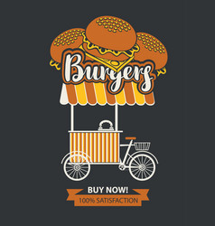Mobile tray selling burgers in retro style vector