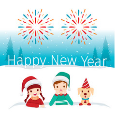 new year children and dog happy in snowdrift vector image