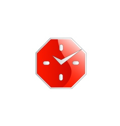 Octagon shaped wall clock business logo vector image