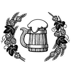 old wooden mug beer in frame hop branches vector image