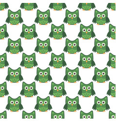 owl stylized art seemless pattern green white vector image