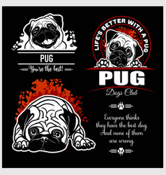 Pug - set for t-shirt logo and template vector