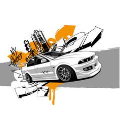 Racing car graffiti abstract art vector