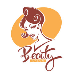 retro beauty lady portrait for your beauty vector image