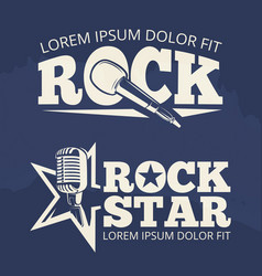 Rock star music labels on grunge backdrop vector