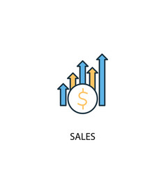 sales concept 2 colored line icon simple yellow vector image