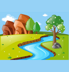 scene with stream running through field vector image