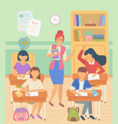 School gives knowledge poster kids and teacher vector
