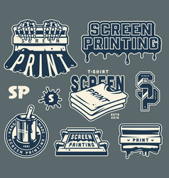 Screen printing elements collection vector