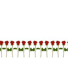 Seamless border red roses vector