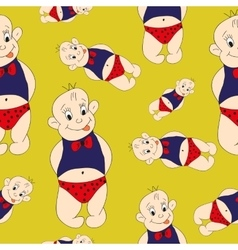 seamless pattern funny baby children cute painted vector image