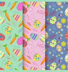 seamless pattern on colorful easter egg and carrot vector image