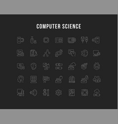 Set line icons computer science vector