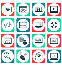 Set of 16 marketing icons includes website vector