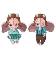 set of cartoon elephants collection of cute vector image