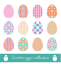 Set of easter eggs with spring ornament collection vector