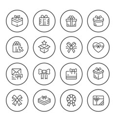 set round line icons gift vector image