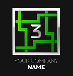 silver number three logo symbol in the square maze vector image