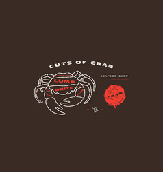 Stock crab cuts diagram in thin line style vector