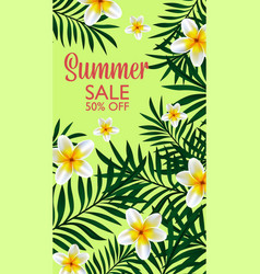 summer sale tropical design of template banner vector image