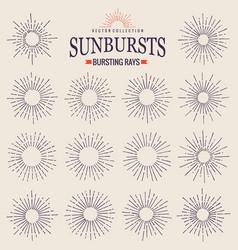 sunbursts collection trendy hand drawn retro vector image