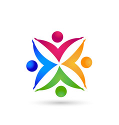 Teamwork colorful people working together success vector
