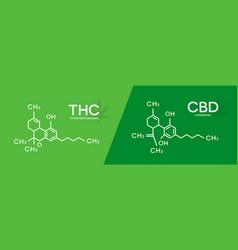 thc and cbd formula tetrahydrocannabinol and vector image
