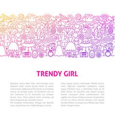 trendy girl line design template vector image