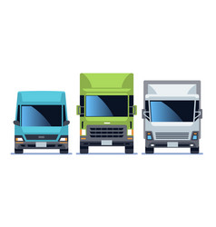 Truck front view set urban city vehicle model vector