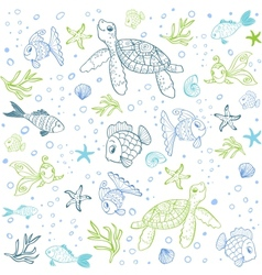 Turtle and Fish seamless vector image